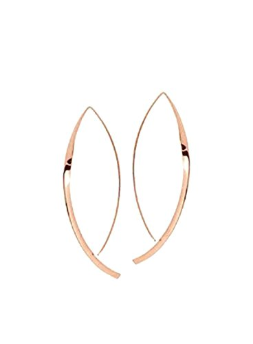 Upside Down Hoop Earrings 14K Solid Rose Gold Hooked on Hoops Inverted Hoops Gift for Women/Her Minimal Jewelry Hammered Flat by New England Jewelry Designs