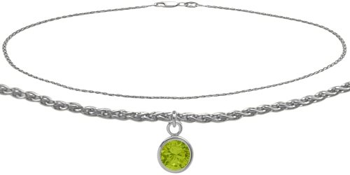 10K White Gold 10 Inch Wheat Anklet with Genuine Peridot Round Charm -