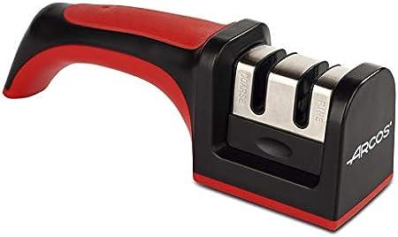 Arcos Afiladores - Afilador de Cuchillos de Mano - Hecho de ABS + TPE - Rodillos Cerámico y Carburo - Color Rojo y Negro
