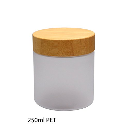 erioctry 250Gram/ML Refillable Plastic Jars with Liners and Environmental Bamboo Lids Frosted Glass Cream Bottle Pot Jars Cosmetic Comtainer