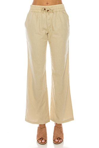 (Me in California Women's Plus Size Comfy Drawstring Band Waist Linen Pants with Pockets Natural X-Large)