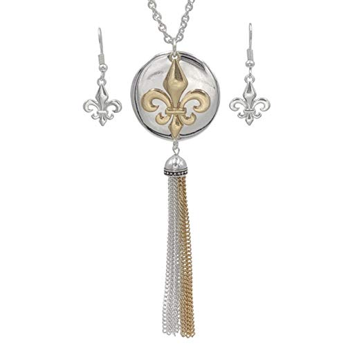 (Gypsy Jewels Long Tassel Fleur De Lis Simple Chain Necklace & Dangle Earring Set (Silver Tone & Gold Tone))