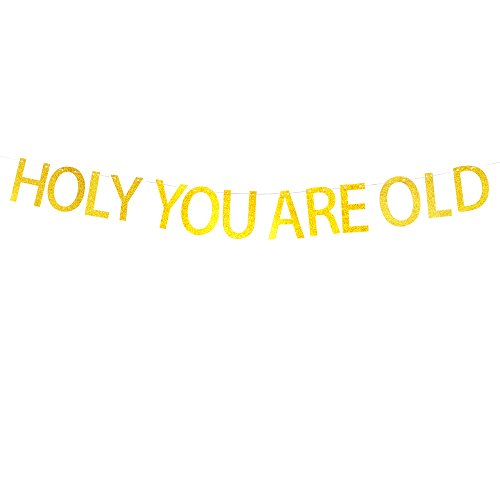 Holy You're Old Banner Hanging Décor for Birthday Party Decorations Gold Banner Pertlife by Pertlife