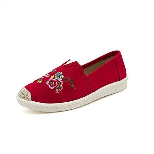 Coton Toile Respirant Rouge Tissu Dcontractes Pour Broderie Plates Chaussures De Vintage Smilinggirl Femmes Xnf1HzqxFw