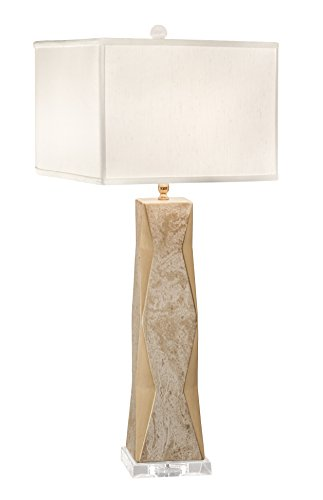 Thumprints 1218-ASL-2143 Geo Gold Lacquer Marbled Off White Square Shade Table Lamp, White Overglaze Finish -