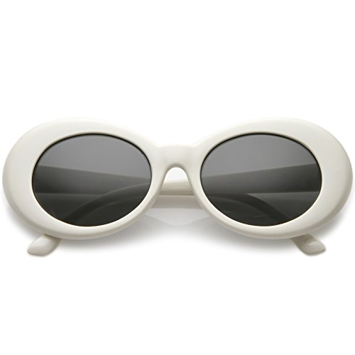 sunglassLA - Retro Oval Sunglasses With Tapered Arms Neutral Colored Round Lens 51mm ()
