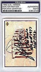 (Walter Payton Signed 1992 Upper Deck Heroes Card Chicago Bears 9 Pro Bowls NFL MVP 1977 HOF 1993 - PSA/DNA Authentication - Autographed NFL Football Memorabilia)
