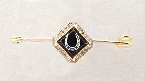 FINISHING TOUCH Square Rondelle Stone & Horseshoe Stock Pin - Black Onyx