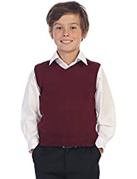 Boy's V-Neck Knitted Pullover Sweater Vest