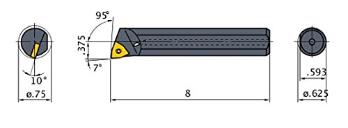 95/° Cutting Angle 0.75 Minimum Cutting Dia. Heavy Metal Shank 0.625 Shank Dia Right with Coolant Mitsubishi Materials M-SWLOR-103-C Screw Clamp Boring Bar with 0.375 IC Trigon Insert