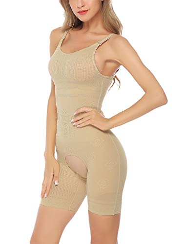 Aibrou Womens Shapewear Tummy Firm Control Bodysuit Seamless Body Shaper Open Crotch Shaping Pants Apricot XXL