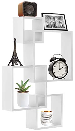 - Sorbus Floating Shelf Square Interlocking Cubes with 4 Openings - Decorative Wall Shelves Hanging Display for Photo Frames, Collectibles, and Home Décor (White)