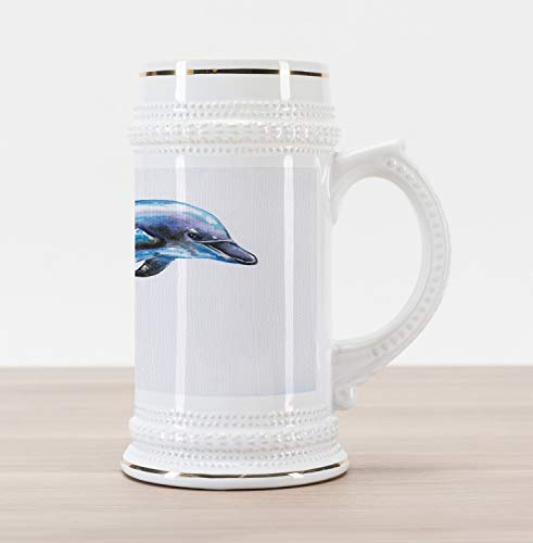Ambesonne Dolphin Beer Stein Mug, Watercolor Ocean Mammal Hand Drawn Aquatic Life Environment Friendly Animal, Traditional Style Decorative Printed Ceramic Large Beer Mug Stein, Blue Lilac Black