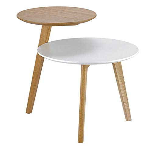 Jcnfa-Tables Double-Layer Combination Coffee Table Round Side Table Moving Side Table Stackable End Table for Bedside/Hallway/Living Room (Color : Logs+White, Size : 605055cm) Double Combo Pedestal Desk