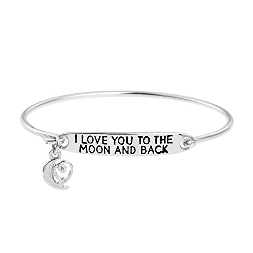 Yiyang Inspirational Love Mom Mother Link Charm Bangle Bracelet Jewlelry Gift for Women Friends Quote I Love You To The Moon And Back