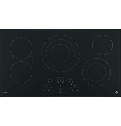 GE PP9036DJBB 36 Inch Electric Cooktop with 5 Radiant, Bridge SyncBurners, 6 9 12 Inch Tri-Ring, 5 8 Inch Power Boil Element, Red LED Touch Controls, ADA Compliant Fits Guarantee