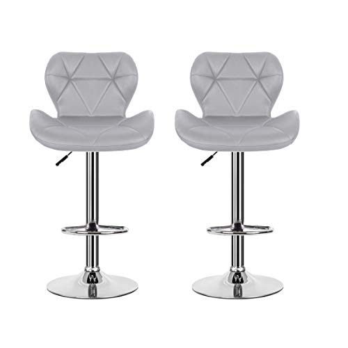 Set of 2 Height Adjustable Bar Stools Padded PU Leather Pub Chair Home Office Furniture (LD- Grey) (Ohana Bar)
