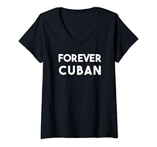Womens Cuban Pride Tee Forever Cuban Funny T-Shirt  V-Neck T-Shirt - T-shirt Dark Womens Forever