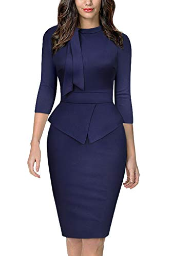 A-line Square Neck - Moyabo Womens Church Dresses A-line Dress for Women Square Neck Zipped Front Slim Work Pencil Dress Navy Blue Medium