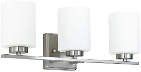 Kingbrite 3 Bulb E26 Vanity Light Fixture Bathroom Lighting, White Glass Shade , Brushed Nickel