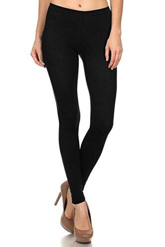 Leggings Mania Solid Colored Tights Cotton Spandex Leggings Black 2X