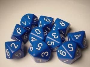 Chessex Dice Sets: Opaque Blue with White - Ten Sided Die d10 Set (10) (Side 10 Dice)