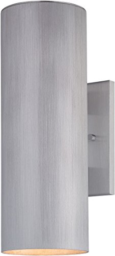 - Minka Lavery Outdoor Cylinder Wall Light 72502-A144-PL Skyline Outdoor Wall Sconce Fluorescent, Brushed Aluminum