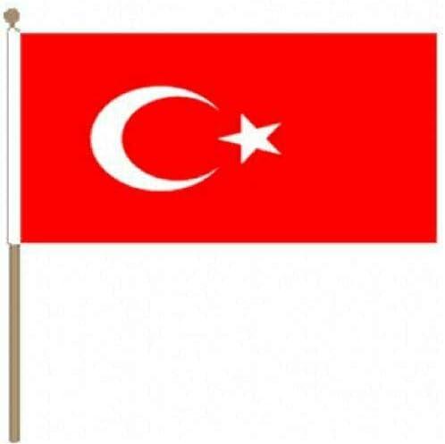 Flagmania® 12er Pack Türkiye 30,5 x 45,7 cm große Handwinkel-Flaggen + 59mm Button Badge
