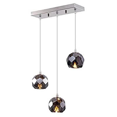 Fancy Crystal Globe Pendant Lighting, Nickel Plating Indoor Decorative Ceiling Pendant Light Fixture for Above Dinning Table Kitchen Island Living Room Bar 3-Light Smoked Grey - ATTRACTIVE LAMPSHADE: Characteristic beautiful modern design crystal lampshade, this pendant lighting is capable of providing you both brightness and charm, it would be an eye-catching fixture for your house. WIDELY APPLICATION: beautiful crystal shade, perfect for kitchen, dining room, living room, bedroom,l kitchen island and else where you want it to be installed EASY INSTALLATION: Hard wired mounted, just connect the wires and then secure the mounting bracket and the canopy and done, just a few simple and easy steps, you can get this pendant lighting properly fixed - kitchen-dining-room-decor, kitchen-dining-room, chandeliers-lighting - 31cle3WlDzL. SS400  -