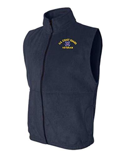 - U.S. Coast Guard Logo Veteran Sierra Pacific Full-Zip Fleece Vest Navy Blue