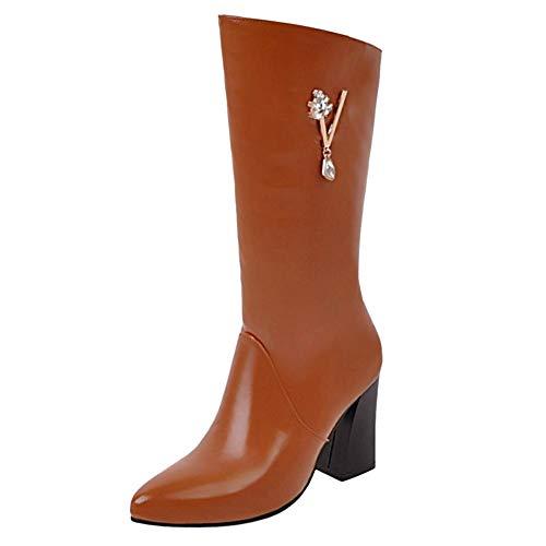 Zip Chaussures Razamaza Jaune Bottines Femmes Bottes mollet Mi UY6YxB