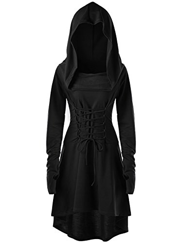Gemijack Womens Renaissance Costumes Hooded Robe Lace Up Vintage Pullover High Low Long Hoodie Dress Cloak -