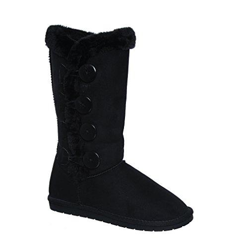 Tina/02 Plain Color Four Button Fur Lined Mid-calf Snow Boots (9, black)