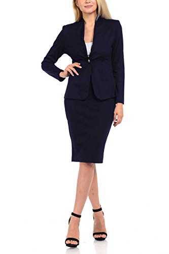 Sweethabit+Womens+Solid+Long+Sleeve+Blazer+and+Bodycon+Dress%2CSkirt%2C+Pants+Suit+Sets%283124Set%29+%28XLarge%2C+3087N+Navy%29