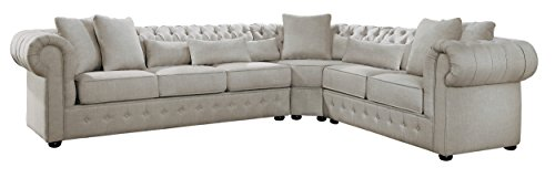 Homelegance Savonburg Button Tufted Upholstered Fabric Rolled Arm Classic Scatter Back Pillow Sectional Chesterfield Sofa, Beige