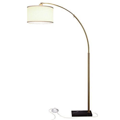 Brightech Logan LED Floor Lamp- Modern Arc with Hanging Shade & Heavy Marble Base- Tall Pole Standing Industrial Uplight Downlight with Ambient Lighting for Living Room Office Dorm or Bedroom - Brass Arc Lamp Antique