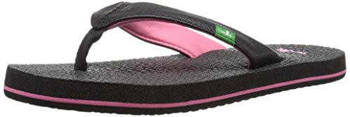Sanuk Kids Yoga Mat Flip Flop (Toddler/Little Kid/Big Kid), Black/Pink, 13/1 M US Little Kid (Flip Flops 1)