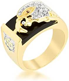 Rhodium Plated and 18k Gold Plated Ring with Round Cut Clear CZ Accents in an Eagle Head Design