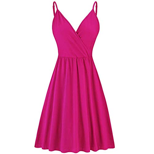 ✔ Hypothesis_X ☎ Women's Summer Spaghetti V-Neck Strap Casual Swing Tank Beach Dress with Pockets Hot Pink]()