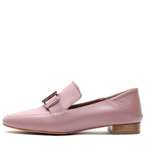 Karen Witte Koe Schapenleer Vierkante Teen Cent Loafer Platte Schoenen Met Gesp Voor Dames Roze