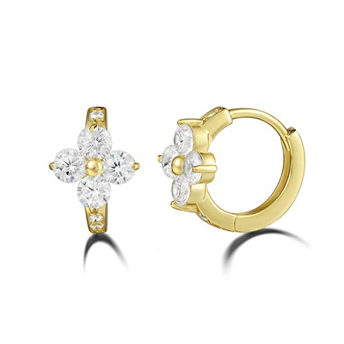 Carleen 14Kt Yellow Gold Plated Sterling Silver CZ Cubic Zirconia Flower Small Tiny Mini Hinged Huggie Cartilage Hoop Earrings For Women Girls, Size 0.5
