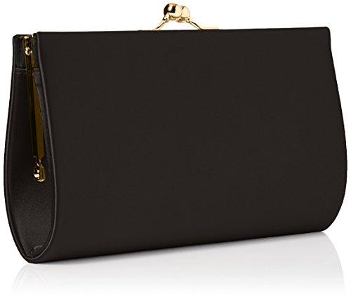 Swanky Swans Mira Satin Classic Frame Bag - Carteras de mano Mujer Negro (Black)