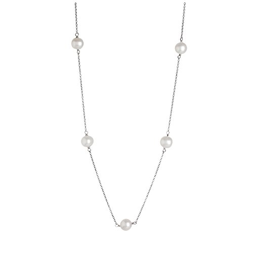 Tahitian Tin Cup - Tin Cup Station Sterling Silver Chain 7-7.5mm White Freshwater Cultured Pearls Princess Necklace 17