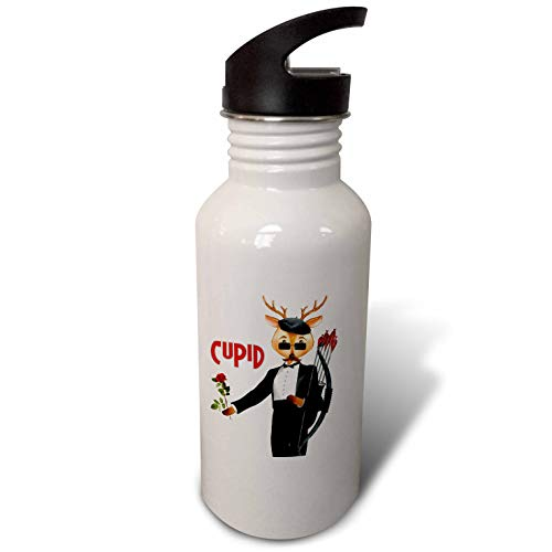 3dRose Doreen Erhardt Christmas Collection - Cupid The Romantic Reindeer a Christmas Portrait - Flip Straw 21oz Water Bottle (wb_290908_2) (Cupid Reindeer)
