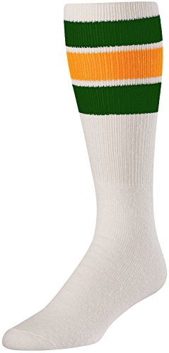 TCK Retro 3 Stripe Tube Socks (White/Dark Green/Gold, ()