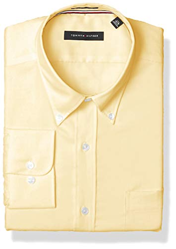 Tommy Hilfiger Mens Non Iron Regular Fit Solid Button Down Collar Dress Shirt, Sun, 15.5