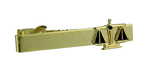 Zeckos Gold Plated Justice Scale Tie Bar Clip Law Lawyer Court (Justice Plated Gold)