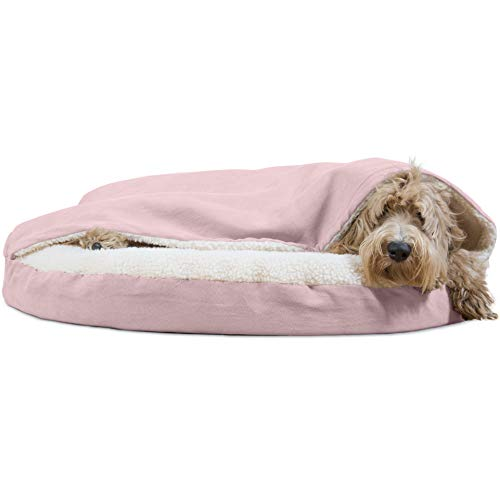 Furhaven Dog Bed | Orthopedic Round Cuddle Nest Faux Sheepskin Snuggery Burrow Pet Bed for Dogs & Cats, Pink, 35-Inch