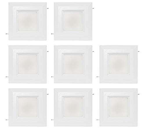 """Westgate Lighting 9 Watt 4"""" Inch Recessed Lighting Kit with Baffle Trim - Square Shaped LED Retrofit Downlight - Premium Dimmable Light Fixture - Best Ceiling Lights - (8 Pack 3000K Soft White)"""