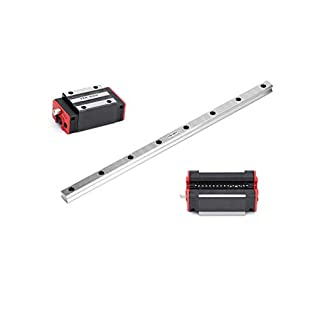 TEN-HIGH Linear Rail CNC Parts Linear Rail HSR15 200mm Approx. 7.87inch Linear Guideway Rail+2pcs HSR15CR Square Type…